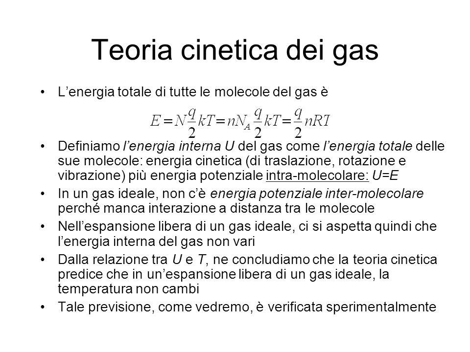 Teoria cinetica dei gas Lenergia totale di tutte le molecole del gas è Definiamo lenergia interna U del gas come lenergia totale delle sue molecole: e