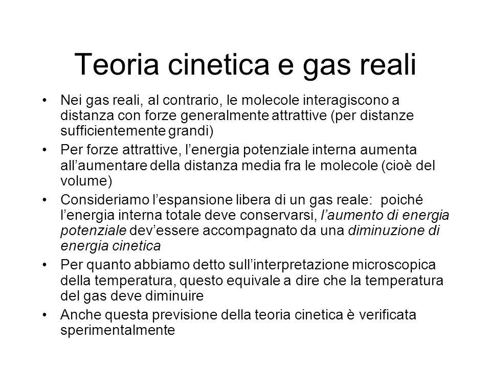Teoria cinetica e gas reali Nei gas reali, al contrario, le molecole interagiscono a distanza con forze generalmente attrattive (per distanze sufficie