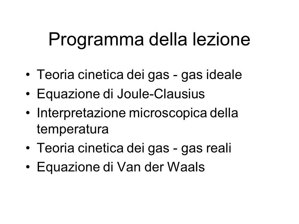 Programma della lezione Teoria cinetica dei gas - gas ideale Equazione di Joule-Clausius Interpretazione microscopica della temperatura Teoria cinetic