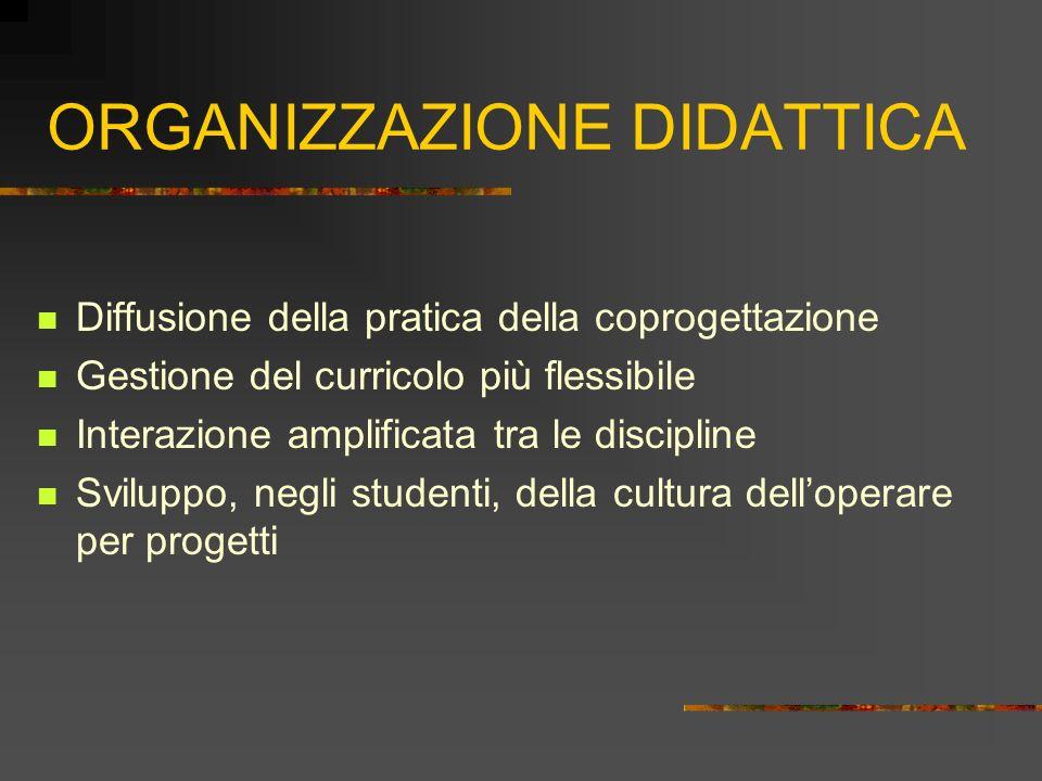 ORGANIZZAZIONE DIDATTICA Diffusione della pratica della coprogettazione Gestione del curricolo più flessibile Interazione amplificata tra le disciplin