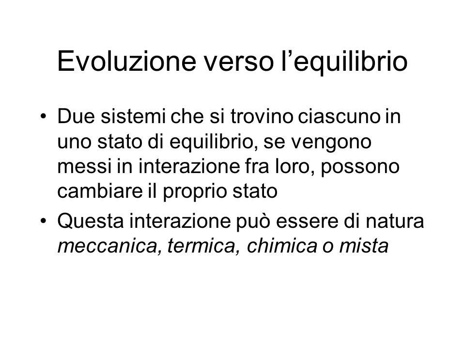 Evoluzione verso lequilibrio Due sistemi che si trovino ciascuno in uno stato di equilibrio, se vengono messi in interazione fra loro, possono cambiar
