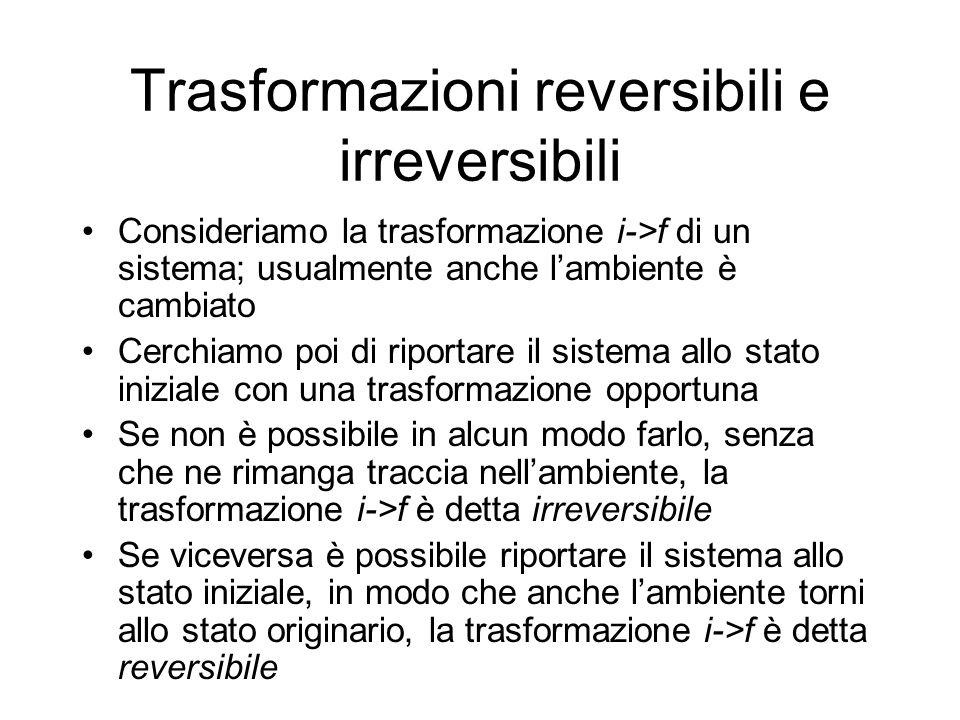 Trasformazioni reversibili e irreversibili Consideriamo la trasformazione i->f di un sistema; usualmente anche lambiente è cambiato Cerchiamo poi di r
