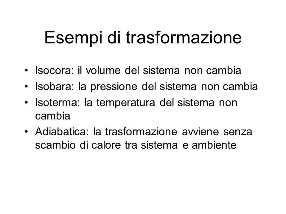 Esempi di trasformazione Isocora: il volume del sistema non cambia Isobara: la pressione del sistema non cambia Isoterma: la temperatura del sistema n