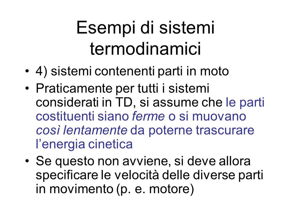 Esempi di sistemi termodinamici 4) sistemi contenenti parti in moto Praticamente per tutti i sistemi considerati in TD, si assume che le parti costitu