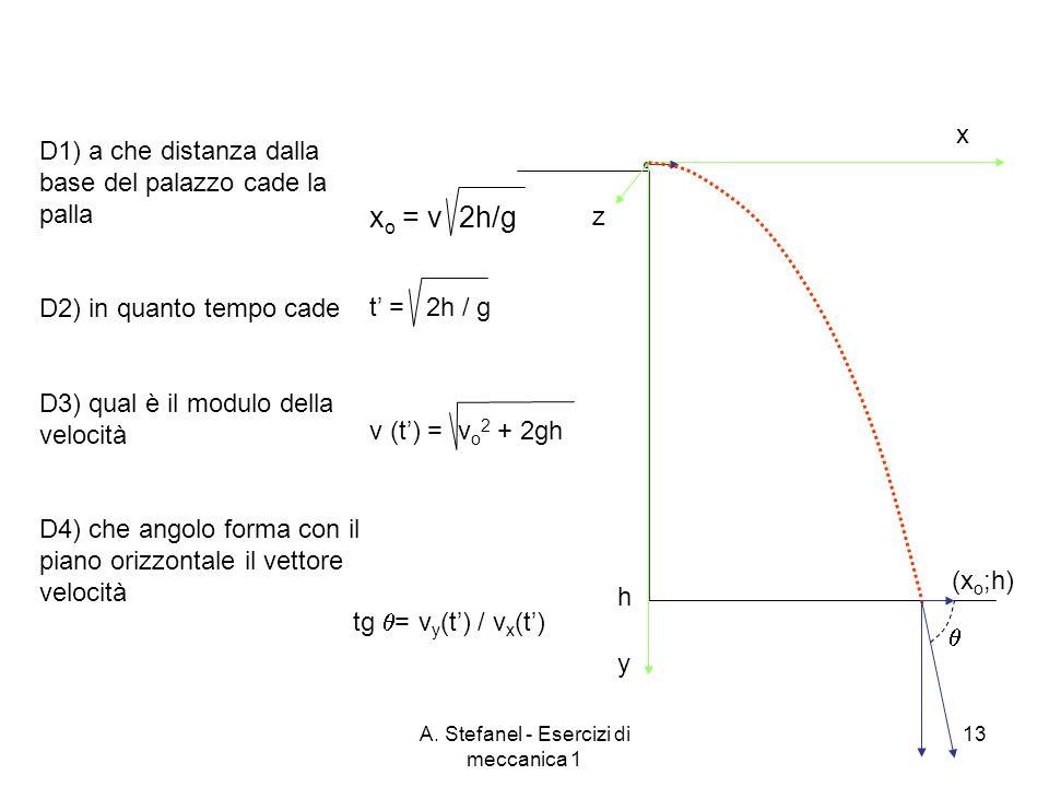 A. Stefanel - Esercizi di meccanica 1 13 x y h z (x o ;h) x o = v 2h/g t = 2h / gv (t) = v o 2 + 2gh tg = v y (t) / v x (t) D1) a che distanza dalla b
