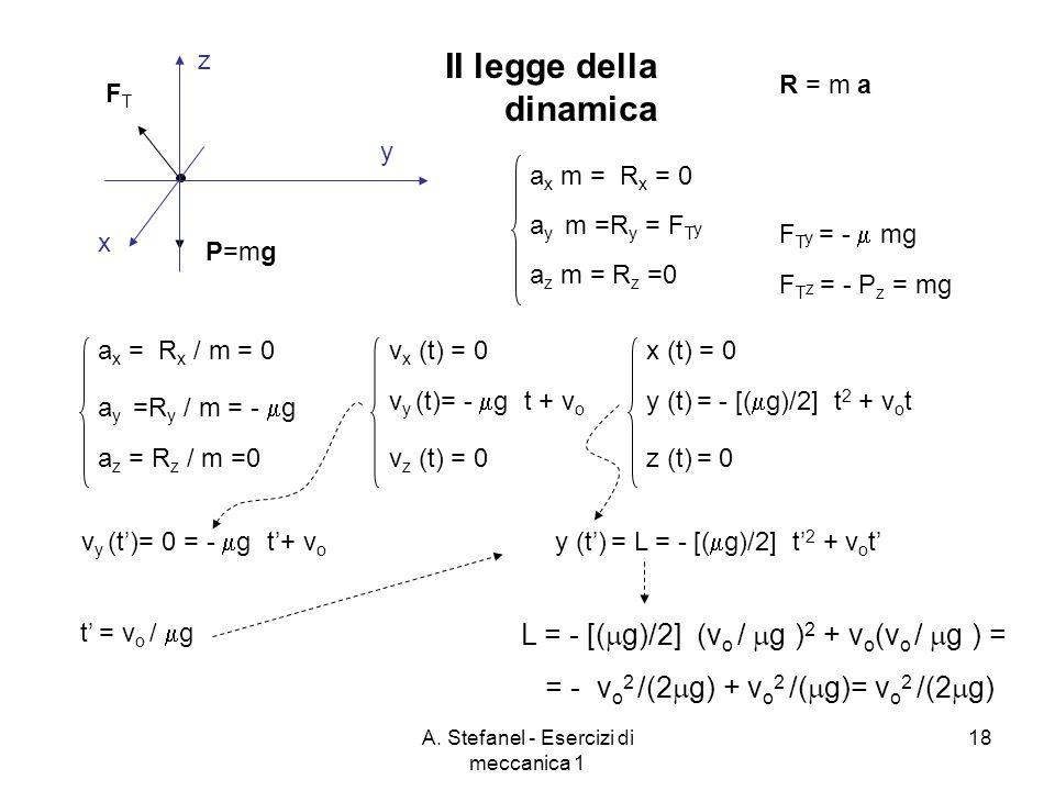 A. Stefanel - Esercizi di meccanica 1 18 x y z P=mg FTFT R = m a a x m = R x = 0 a y m =R y = F T y a z m = R z =0 F T z = - P z = mg F T y = - mg II