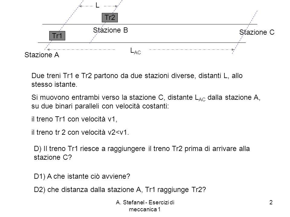 A. Stefanel - Esercizi di meccanica 1 2 Stazione A Stazione B Stazione C Due treni Tr1 e Tr2 partono da due stazioni diverse, distanti L, allo stesso