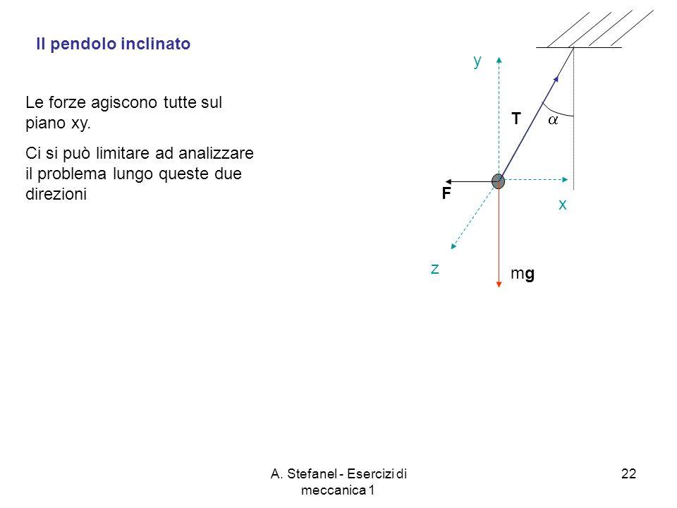 A. Stefanel - Esercizi di meccanica 1 22 F Il pendolo inclinato mgmg T z x y Le forze agiscono tutte sul piano xy. Ci si può limitare ad analizzare il