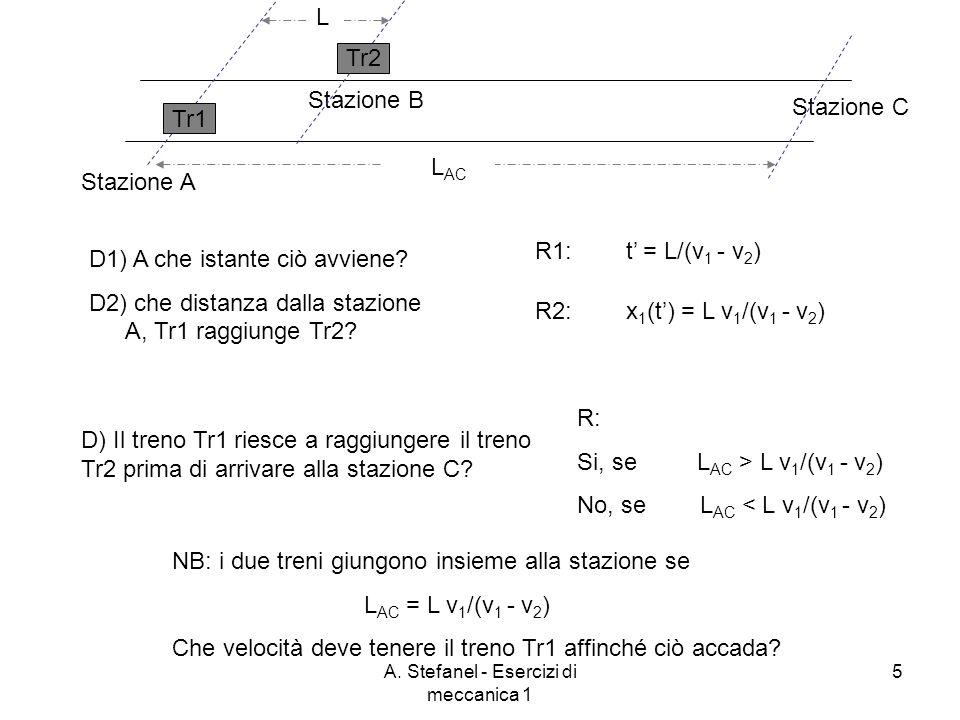 A. Stefanel - Esercizi di meccanica 1 5 Stazione A Stazione B Stazione C L Tr2 Tr1 L AC D1) A che istante ciò avviene? D2) che distanza dalla stazione