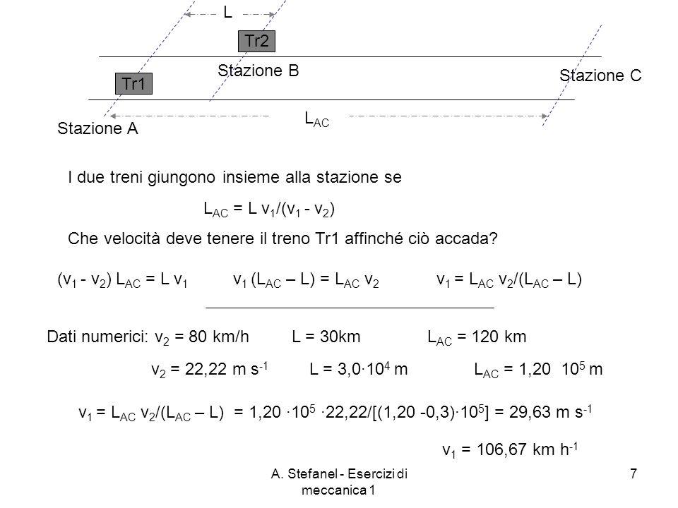 A. Stefanel - Esercizi di meccanica 1 7 Stazione A Stazione B Stazione C L Tr2 Tr1 L AC I due treni giungono insieme alla stazione se L AC = L v 1 /(v