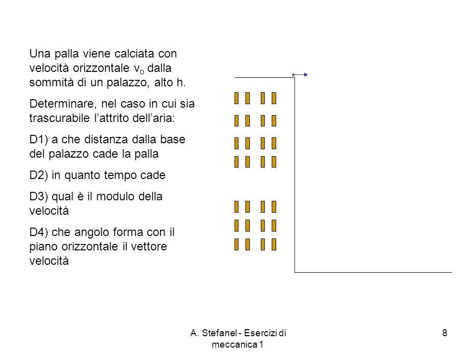 A. Stefanel - Esercizi di meccanica 1 8 Una palla viene calciata con velocità orizzontale v o dalla sommità di un palazzo, alto h. Determinare, nel ca