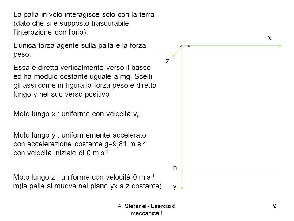 A. Stefanel - Esercizi di meccanica 1 9 x y h Moto lungo x : uniforme con velocità v o. La palla in volo interagisce solo con la terra (dato che si è
