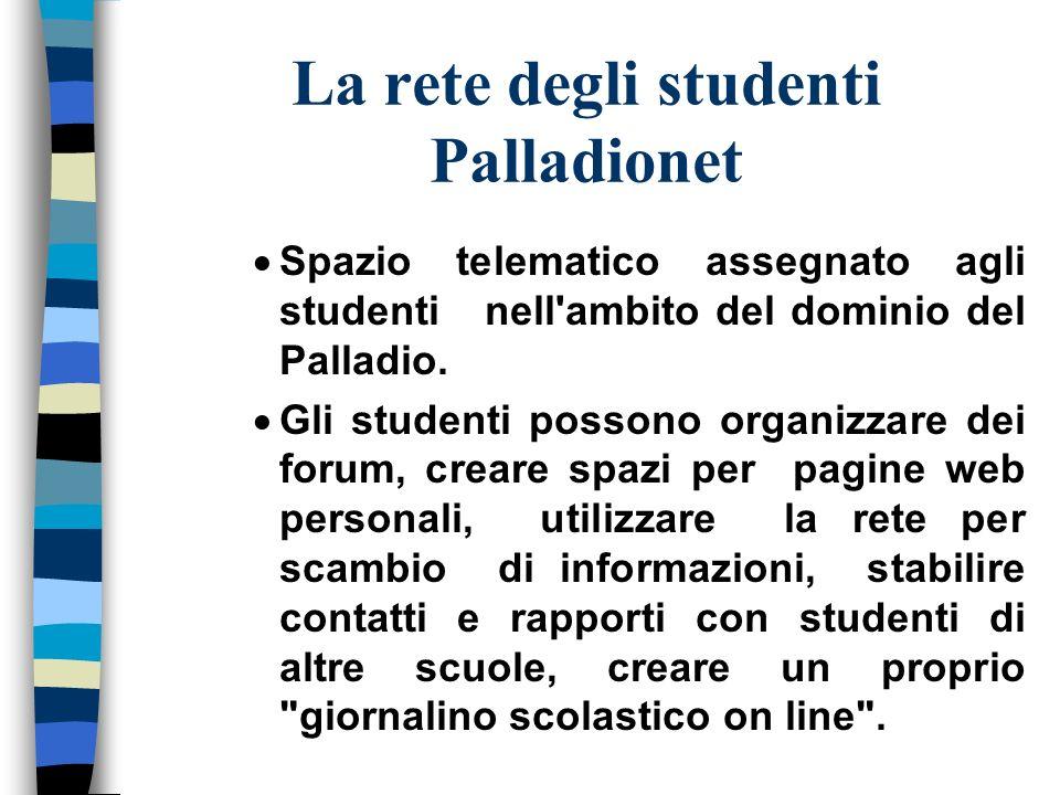 La rete degli studenti Palladionet Spazio telematico assegnato agli studenti nell ambito del dominio del Palladio.