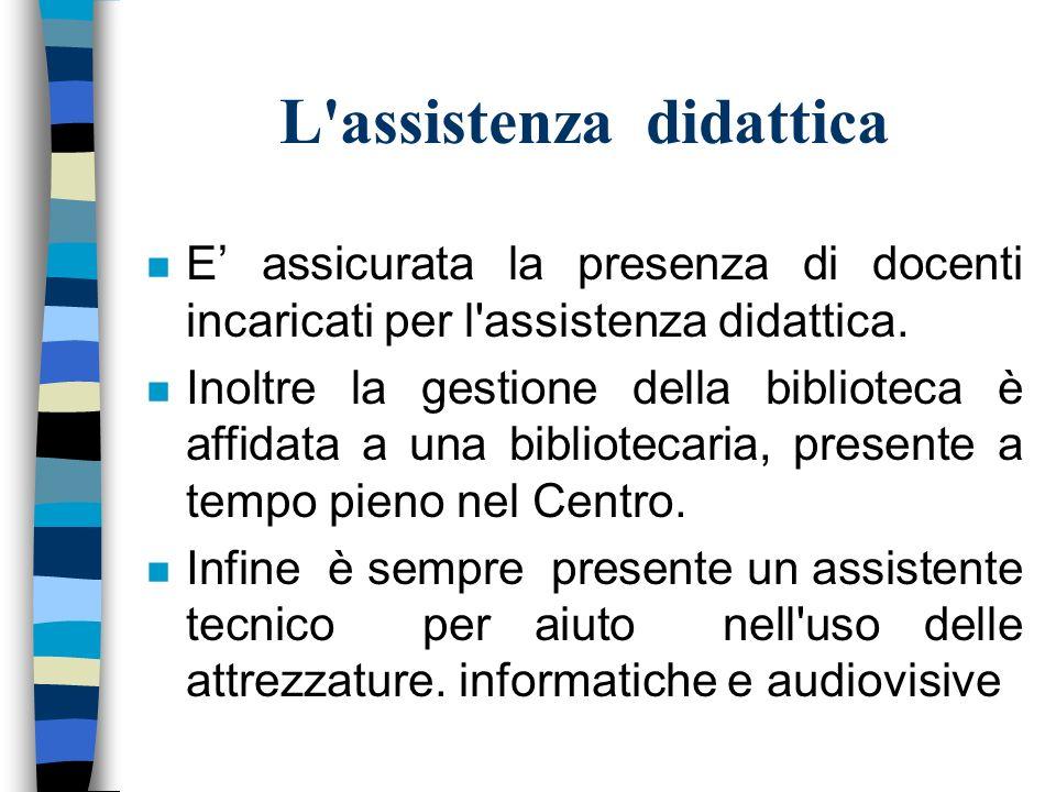 L assistenza didattica n E assicurata la presenza di docenti incaricati per l assistenza didattica.