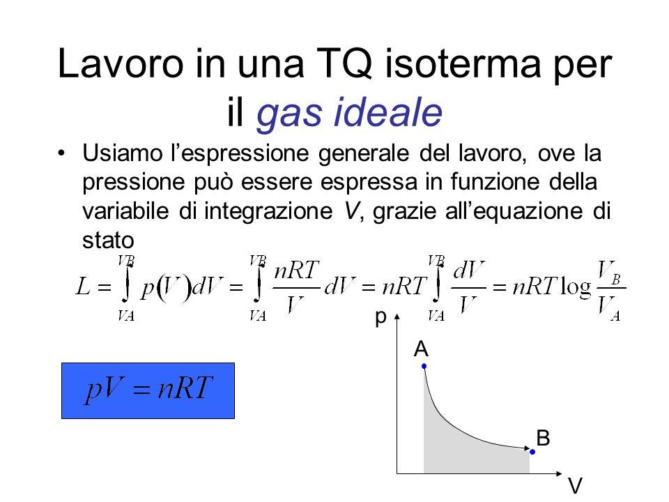 Lavoro in una TQ isoterma per il gas ideale Usiamo lespressione generale del lavoro, ove la pressione può essere espressa in funzione della variabile