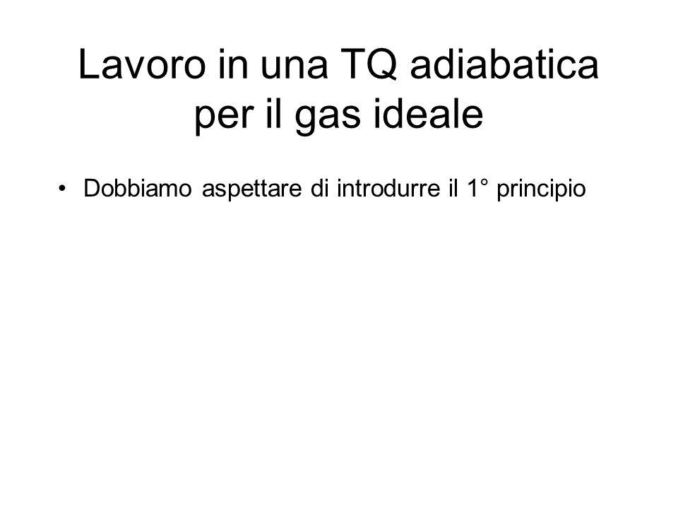Lavoro in una TQ adiabatica per il gas ideale Dobbiamo aspettare di introdurre il 1° principio