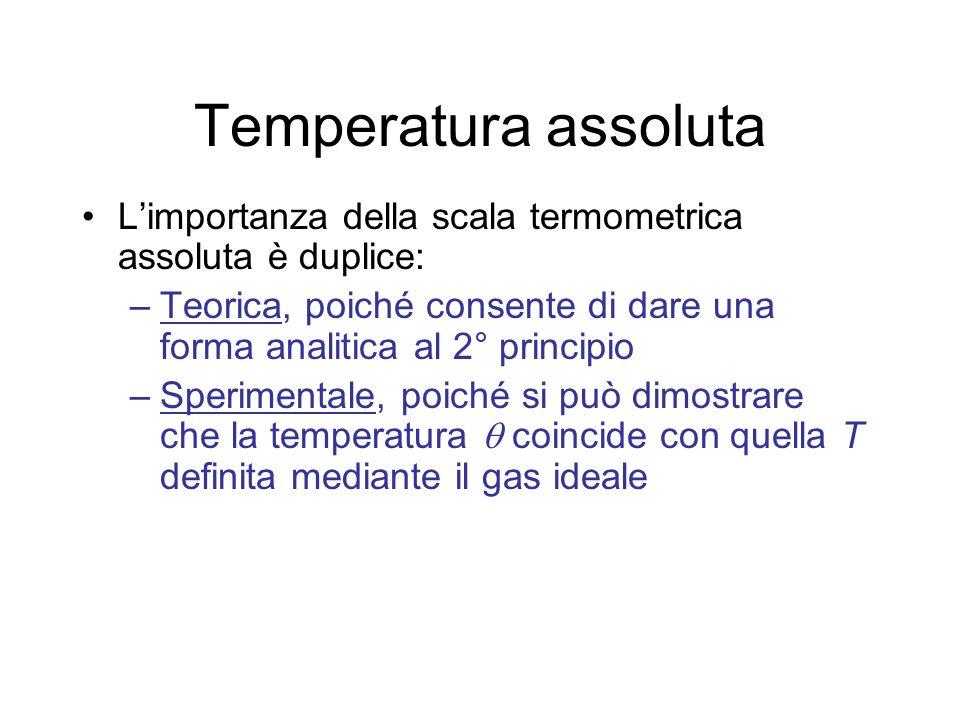 Temperatura assoluta Limportanza della scala termometrica assoluta è duplice: –Teorica, poiché consente di dare una forma analitica al 2° principio –S