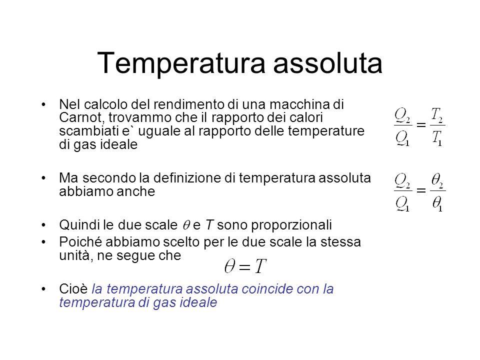 Temperatura assoluta Nel calcolo del rendimento di una macchina di Carnot, trovammo che il rapporto dei calori scambiati e` uguale al rapporto delle t