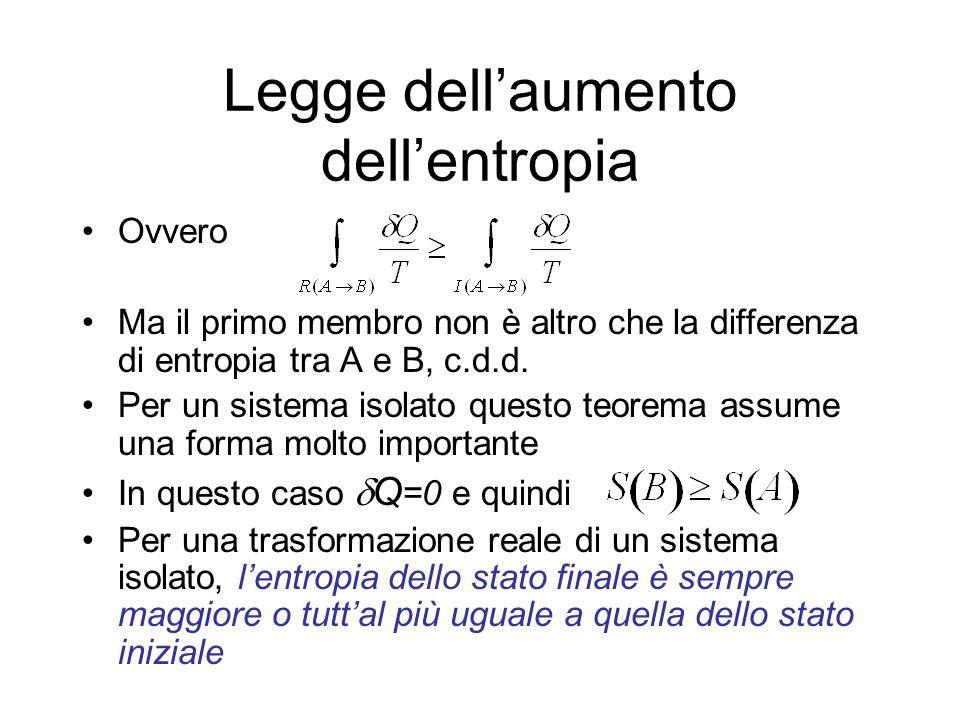 Legge dellaumento dellentropia Ovvero Ma il primo membro non è altro che la differenza di entropia tra A e B, c.d.d. Per un sistema isolato questo teo