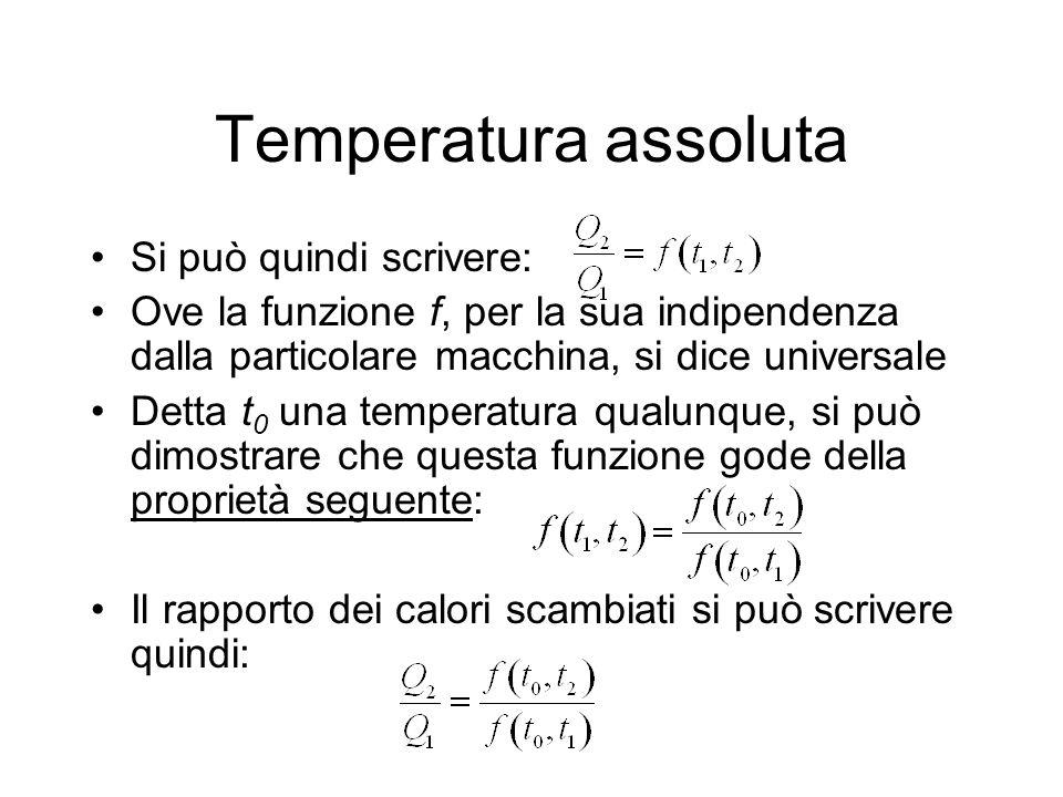 Temperatura assoluta Se ora fissiamo una volta per tutte t 0 e consideriamo, per ogni altra temperatura t, una macchina funzionante tra t e t 0, possiamo considerare la funzione come una funzione della sola t, e riscrivere il rapporto dei calori: Ovvero: