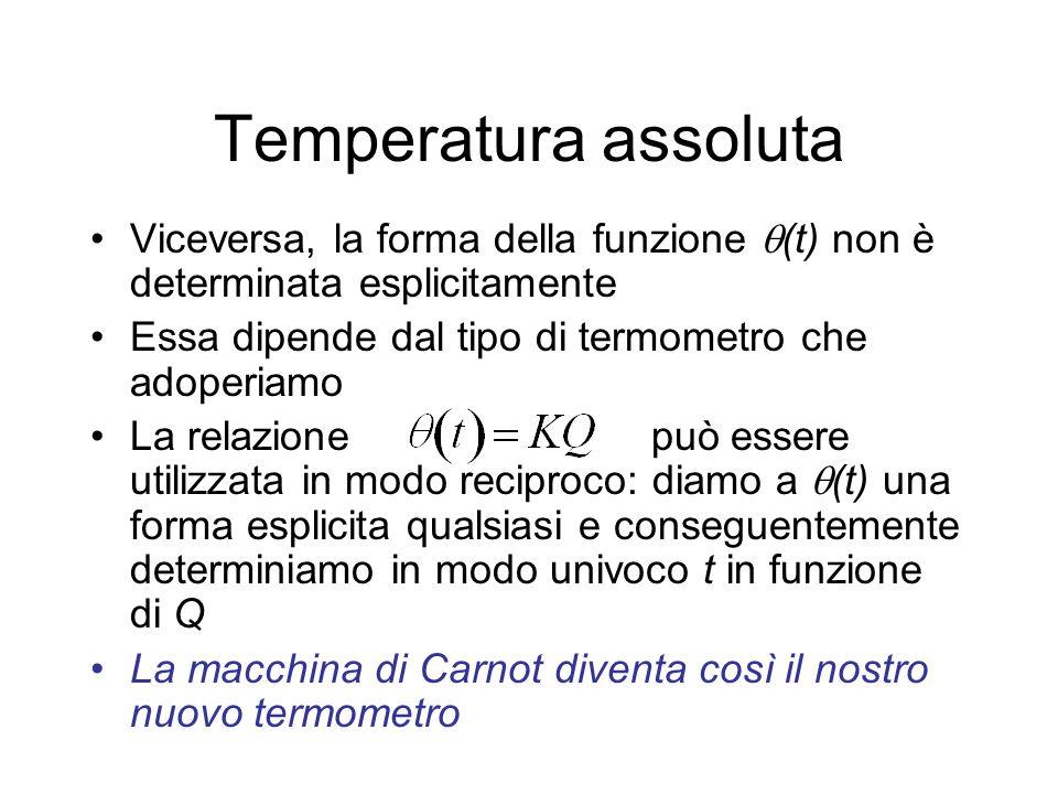 Temperatura assoluta Fra tutte le forme possibili per (t), scegliamo la più semplice, cioè (t)=t, ne segue Siccome il calore Q non dipende dal particolare fluido impiegato nella macchina, questo termometro determina la temperatura indipendentemente dal fluido particolare usato Abbiamo così definito la temperatura in modo assoluto