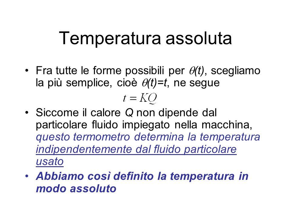 Temperatura assoluta Fra tutte le forme possibili per (t), scegliamo la più semplice, cioè (t)=t, ne segue Siccome il calore Q non dipende dal partico