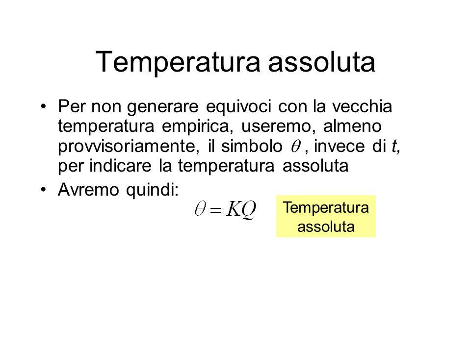 Temperatura assoluta Larbitrarietà della costante K può essere eliminata –fissando due punti della scala (che sceglieremo di nuovo come il punto di fusione del ghiaccio e di ebollizione dellacqua) –scegliendo come unità di temperatura la centesima parte di questo intervallo Sia fus la temperatura assoluta del ghiaccio fondente e bol quella dellacqua bollente, avremo