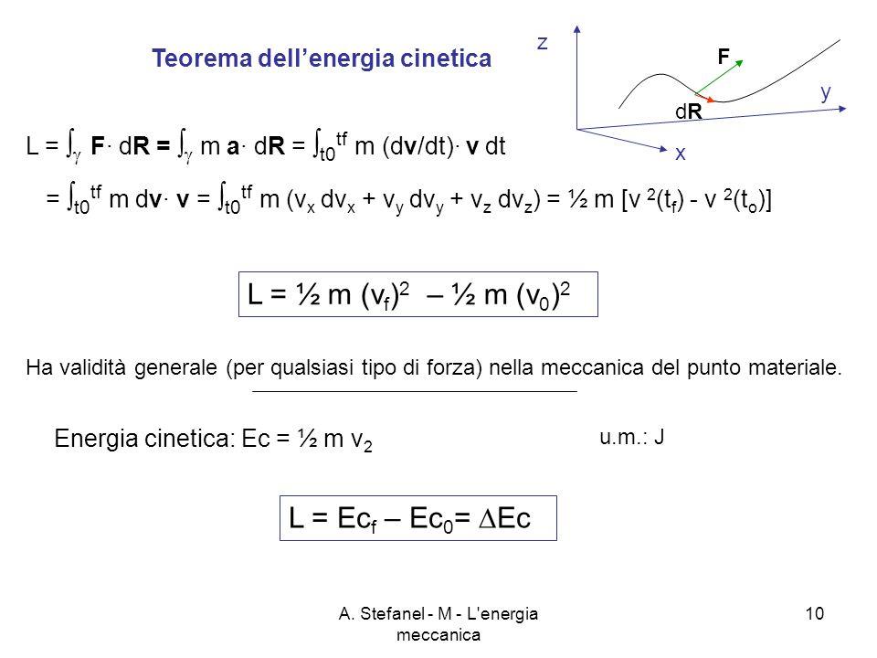 A. Stefanel - M - L'energia meccanica 10 Teorema dellenergia cinetica L = F· dR = m a· dR = t0 tf m (dv/dt)· v dt = t0 tf m dv· v = t0 tf m (v x dv x