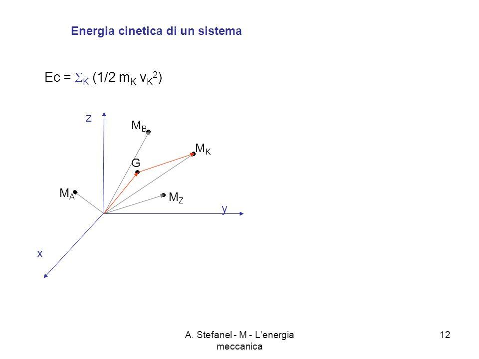 A. Stefanel - M - L'energia meccanica 12 Energia cinetica di un sistema Ec = K (1/2 m K v K 2 ) x y z MBMB MKMK MZMZ MAMA G