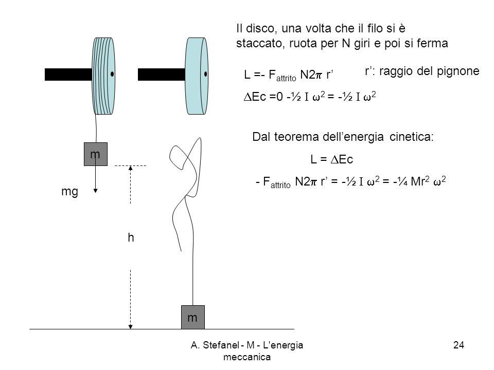 A. Stefanel - M - L'energia meccanica 24 m m mg h L =- F attrito N2 r Ec =0 -½ I 2 = -½ I 2 r: raggio del pignone Dal teorema dellenergia cinetica: L