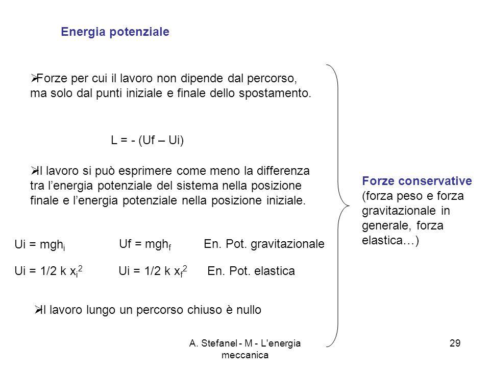 A. Stefanel - M - L'energia meccanica 29 Energia potenziale Forze per cui il lavoro non dipende dal percorso, ma solo dal punti iniziale e finale dell