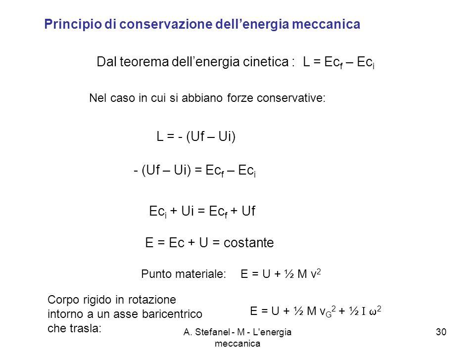 A. Stefanel - M - L'energia meccanica 30 Principio di conservazione dellenergia meccanica Dal teorema dellenergia cinetica : L = Ec f – Ec i Nel caso