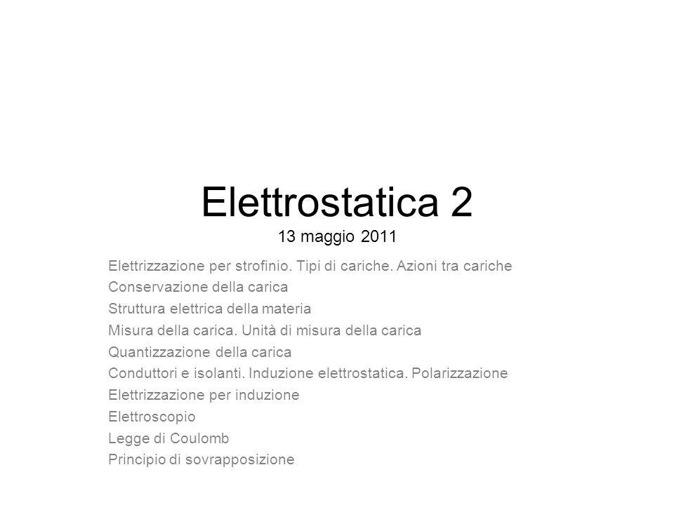 Elettrostatica 2 13 maggio 2011 Elettrizzazione per strofinio. Tipi di cariche. Azioni tra cariche Conservazione della carica Struttura elettrica dell