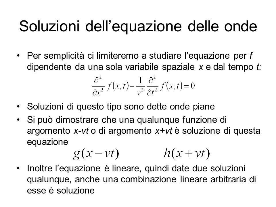 Soluzioni dellequazione delle onde Per semplicità ci limiteremo a studiare lequazione per f dipendente da una sola variabile spaziale x e dal tempo t: