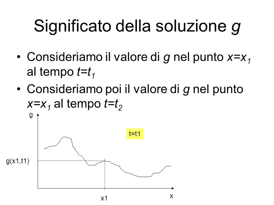Significato della soluzione g Consideriamo il valore di g nel punto x=x 1 al tempo t=t 1 Consideriamo poi il valore di g nel punto x=x 1 al tempo t=t