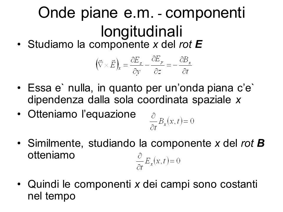 Onde piane e.m. - componenti longitudinali Studiamo la componente x del rot E Essa e` nulla, in quanto per unonda piana ce` dipendenza dalla sola coor