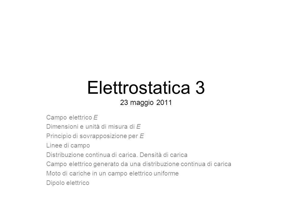 Elettrostatica 3 23 maggio 2011 Campo elettrico E Dimensioni e unità di misura di E Principio di sovrapposizione per E Linee di campo Distribuzione co