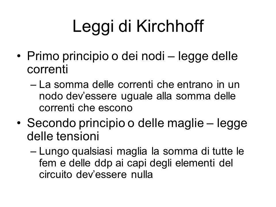 Leggi di Kirchhoff Primo principio o dei nodi – legge delle correnti –La somma delle correnti che entrano in un nodo devessere uguale alla somma delle