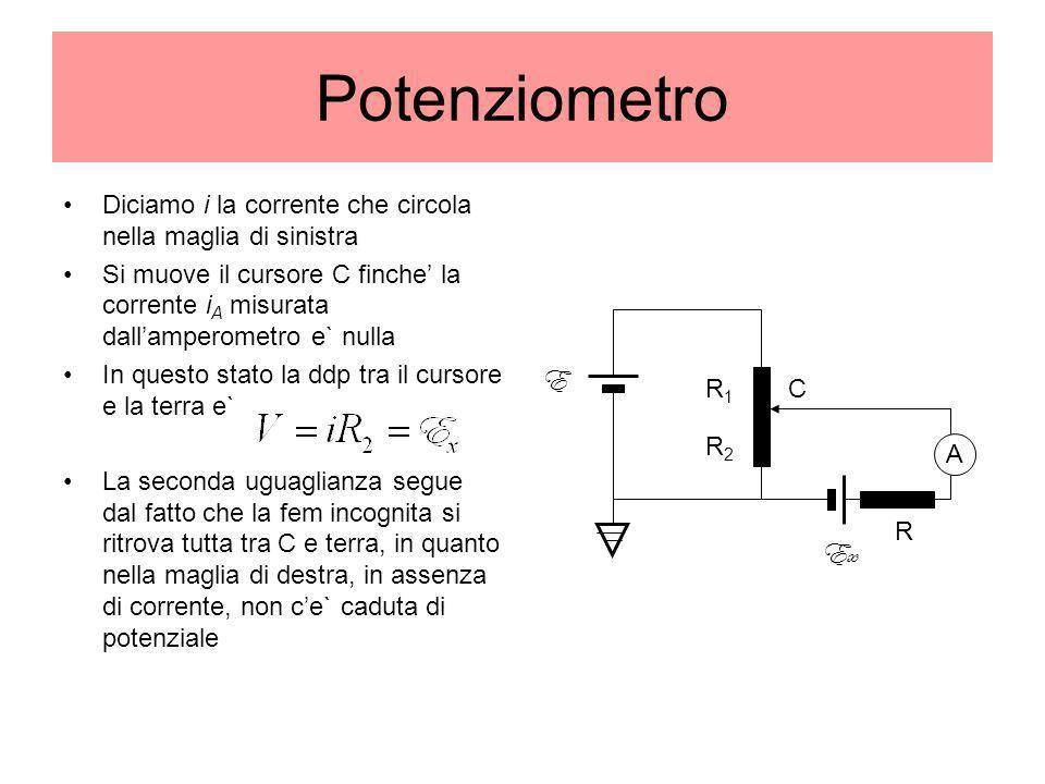 Potenziometro Diciamo i la corrente che circola nella maglia di sinistra Si muove il cursore C finche la corrente i A misurata dallamperometro e` null