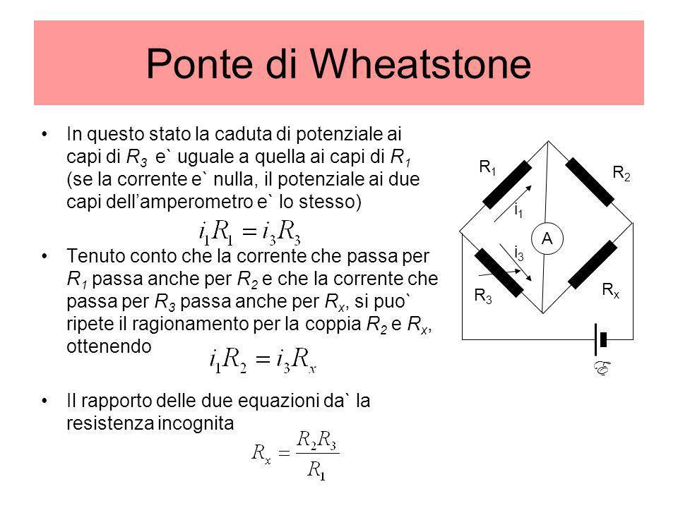 Ponte di Wheatstone In questo stato la caduta di potenziale ai capi di R 3 e` uguale a quella ai capi di R 1 (se la corrente e` nulla, il potenziale a