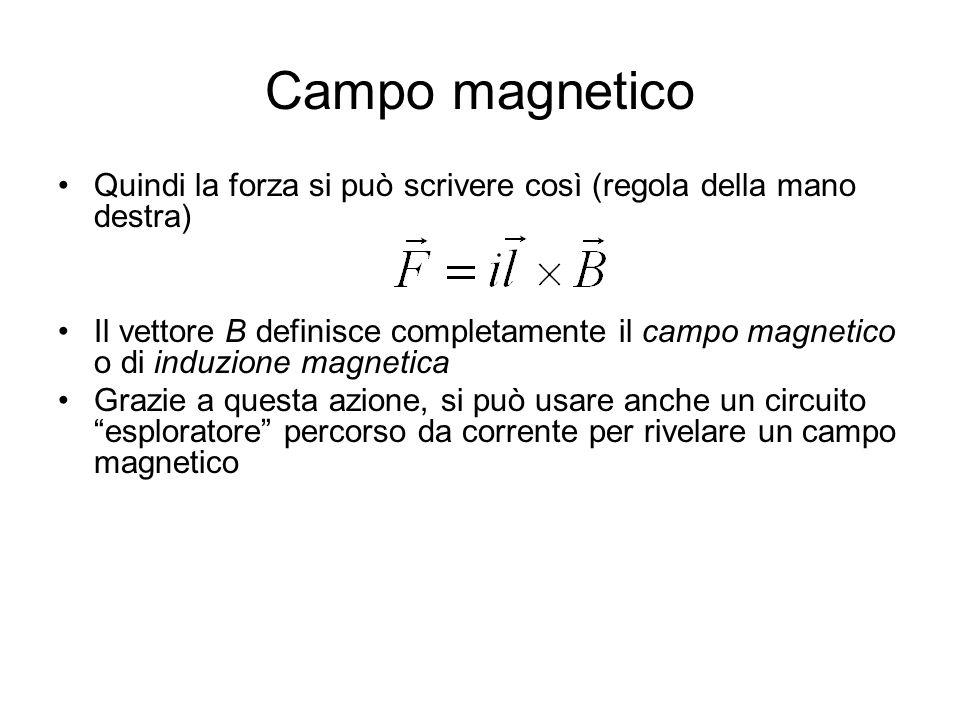 Campo magnetico Quindi la forza si può scrivere così (regola della mano destra) Il vettore B definisce completamente il campo magnetico o di induzione