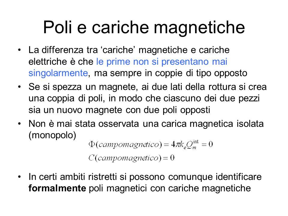 Differenza tra linee del campo elettrico e magnetico La forza elettrica ha la direzione delle linee di campo La forza magnetica ha direzione perpendicolare alle linee di campo Le linee di campo elettrico (statico) originano da cariche positive e terminano su cariche negative Le linee di campo magnetico non originano da né terminano su punti dello spazio, perché non esistono cariche magnetiche isolate Le linee di campo magnetico sono perciò linee chiuse Legge di Gauss per il campo B, ovvero assenza di cariche magnetiche E la terza equazione delle.m.
