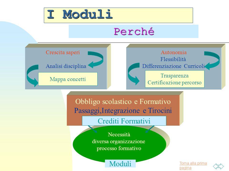 Torna alla prima pagina Necessità diversa organizzazione processo formativo I Moduli Crescita saperi Analisi disciplina Autonomia Flessibilità Differe