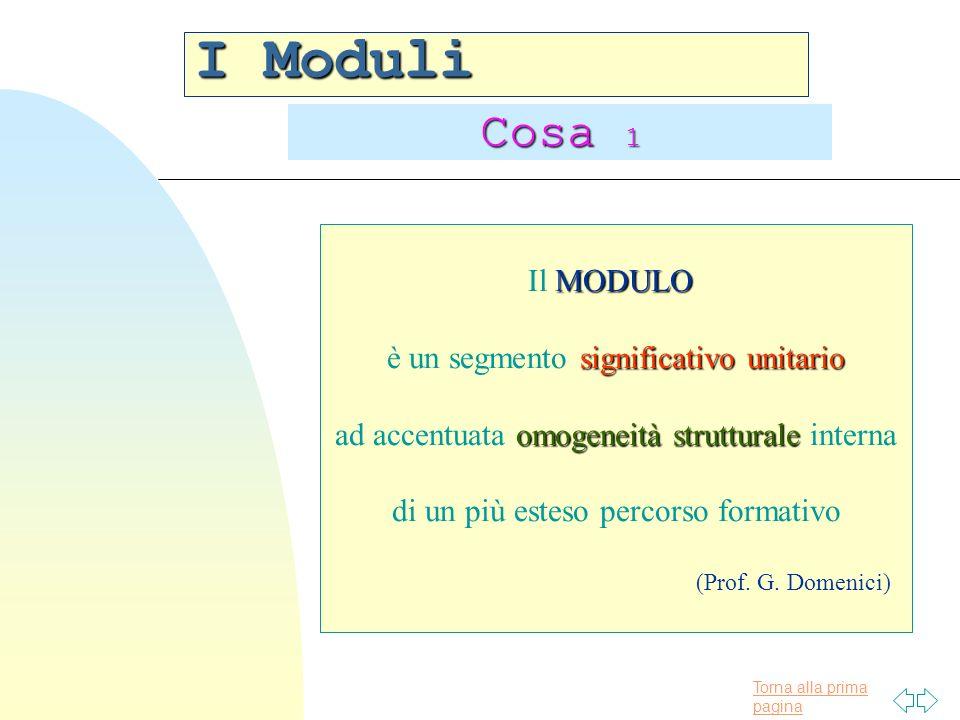 Torna alla prima pagina I Moduli Cosa 1 MODULO Il MODULO significativo unitario è un segmento significativo unitario omogeneità strutturale ad accentuata omogeneità strutturale interna di un più esteso percorso formativo (Prof.