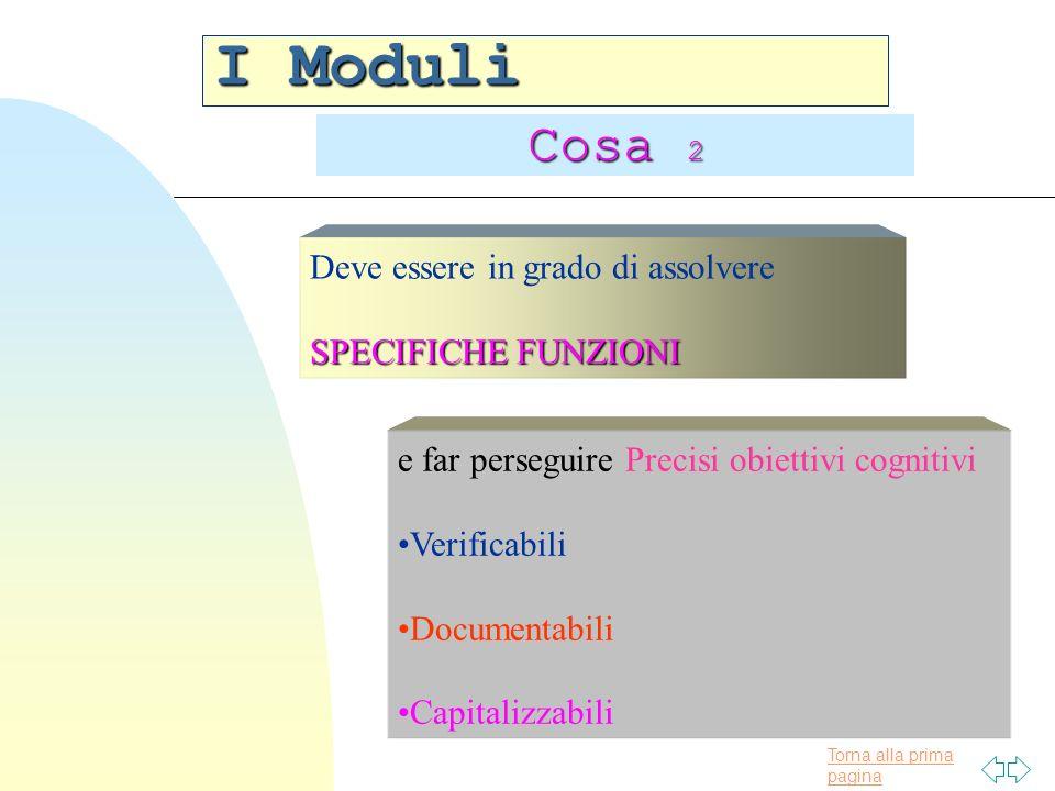 Torna alla prima pagina I Moduli Cosa 2 Deve essere in grado di assolvere SPECIFICHE FUNZIONI Precisi obiettivi cognitivi e far perseguire Precisi obi