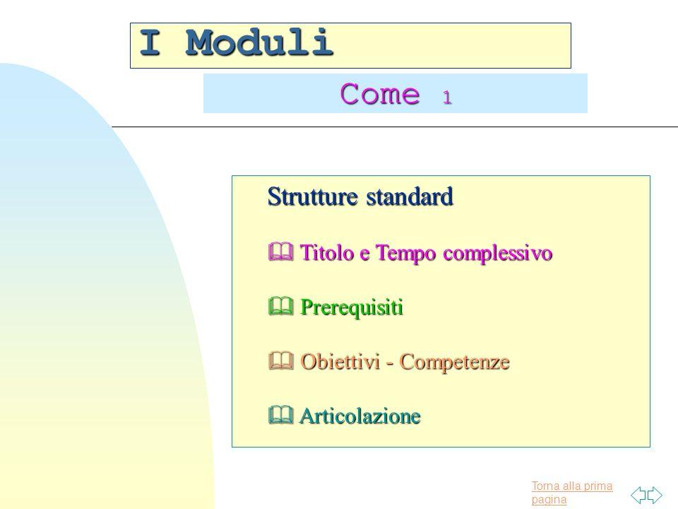 Torna alla prima pagina I Moduli Come 1 Strutture standard Titolo e Tempo complessivo Titolo e Tempo complessivo Prerequisiti Prerequisiti Obiettivi - Competenze Obiettivi - Competenze Articolazione Articolazione