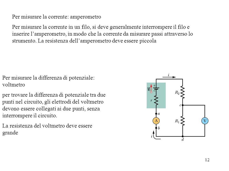 12 Per misurare la corrente: amperometro Per misurare la corrente in un filo, si deve generalmente interrompere il filo e inserire lamperometro, in mo