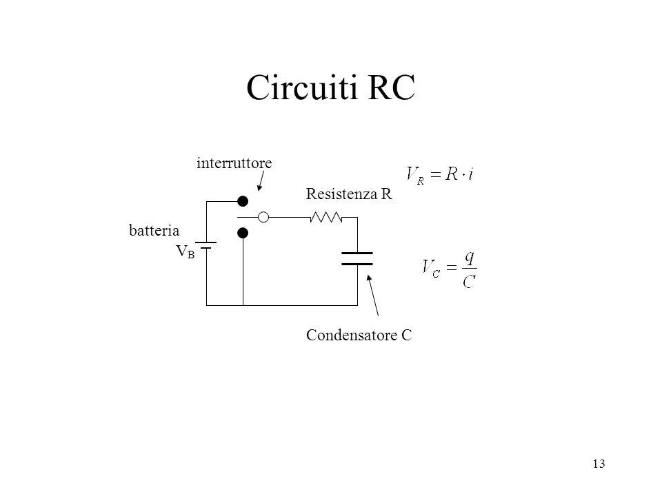 13 Circuiti RC interruttore Condensatore C Resistenza R batteria VBVB