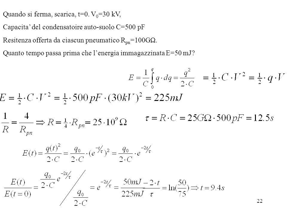 22 Quando si ferma, scarica, t=0. V 0 =30 kV, Capacita del condensatoire auto-suolo C=500 pF Resitenza offerta da ciascun pneumatico R pn =100G. Quant