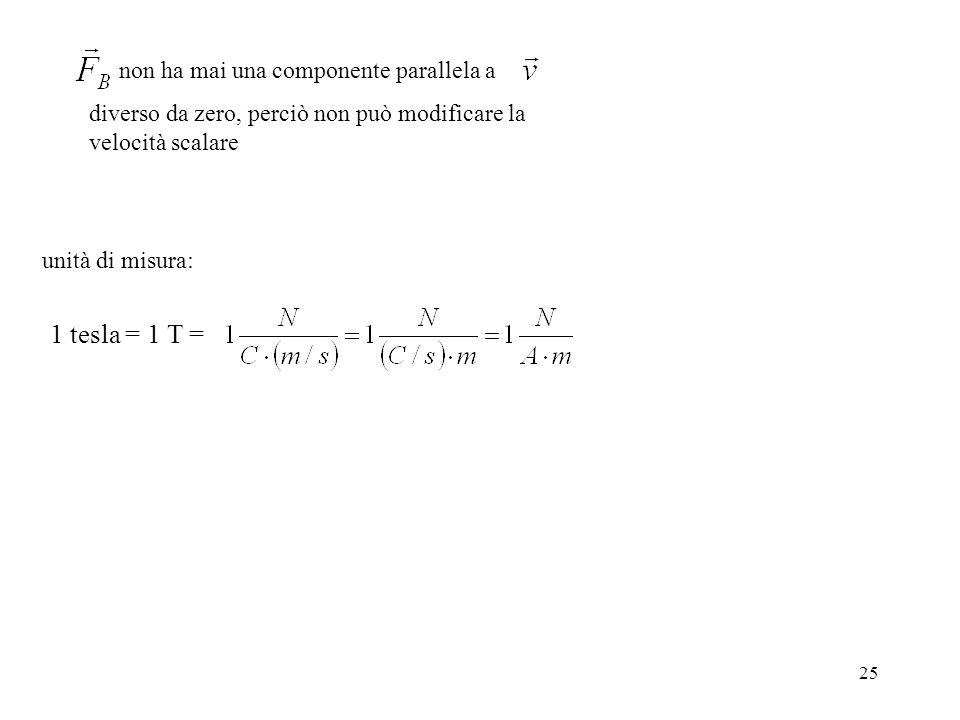 25 non ha mai una componente parallela a diverso da zero, perciò non può modificare la velocità scalare unità di misura: 1 tesla = 1 T =